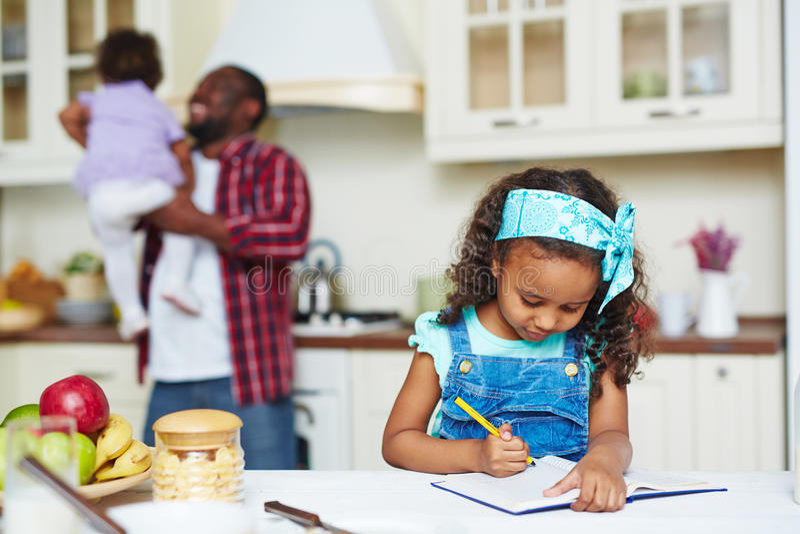 Doing homework royalty free stock images