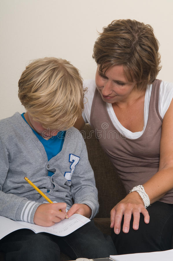 Download Doing homework with mother stock image. Image of caucasian - 21216227