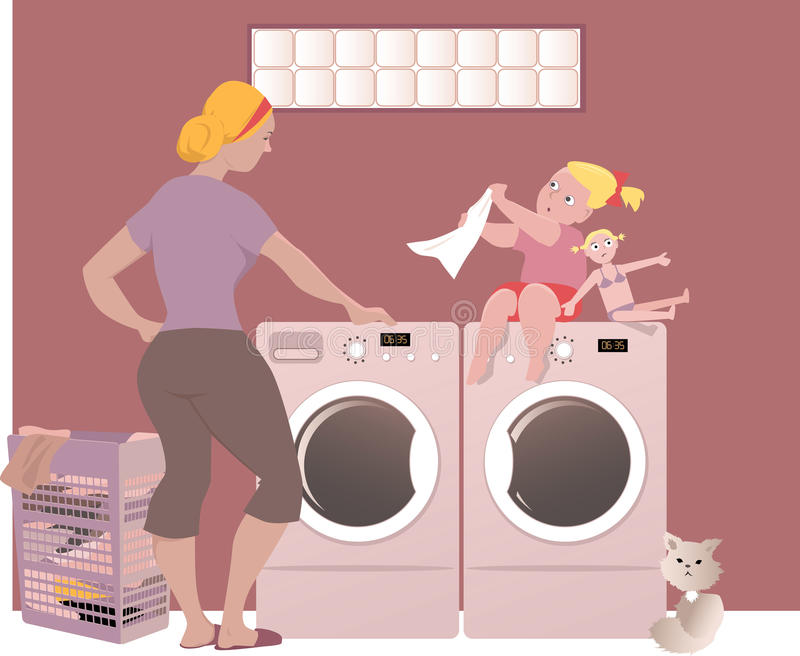 Doing laundry. A woman with her little daughter doing laundry in a basement of her house, EPS 8 vector illustration vector illustration