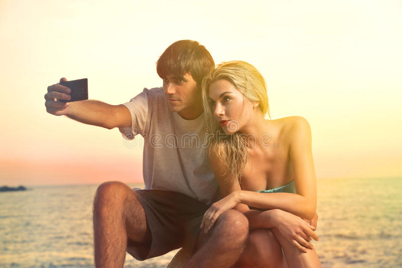 Doing a selfie stock image