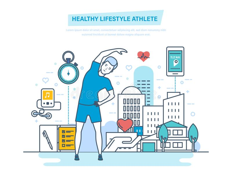 Healthy lifestyle athlete. Using physical exercises and professional training programs. vector illustration