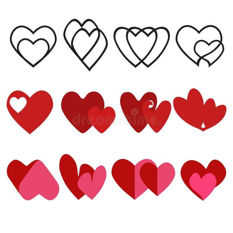 Dois ícones de coração de amor. Corações adoráveis, vermelhos como e adoráveis símbolos de contornos de romance. Valentine ilustração stock