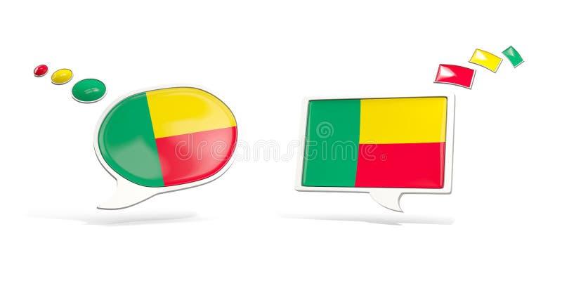 Dois ícones do bate-papo com a bandeira de benin ilustração stock