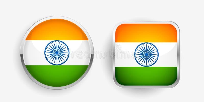 Dois ícones indianos da etiqueta da bandeira projetam ilustração do vetor