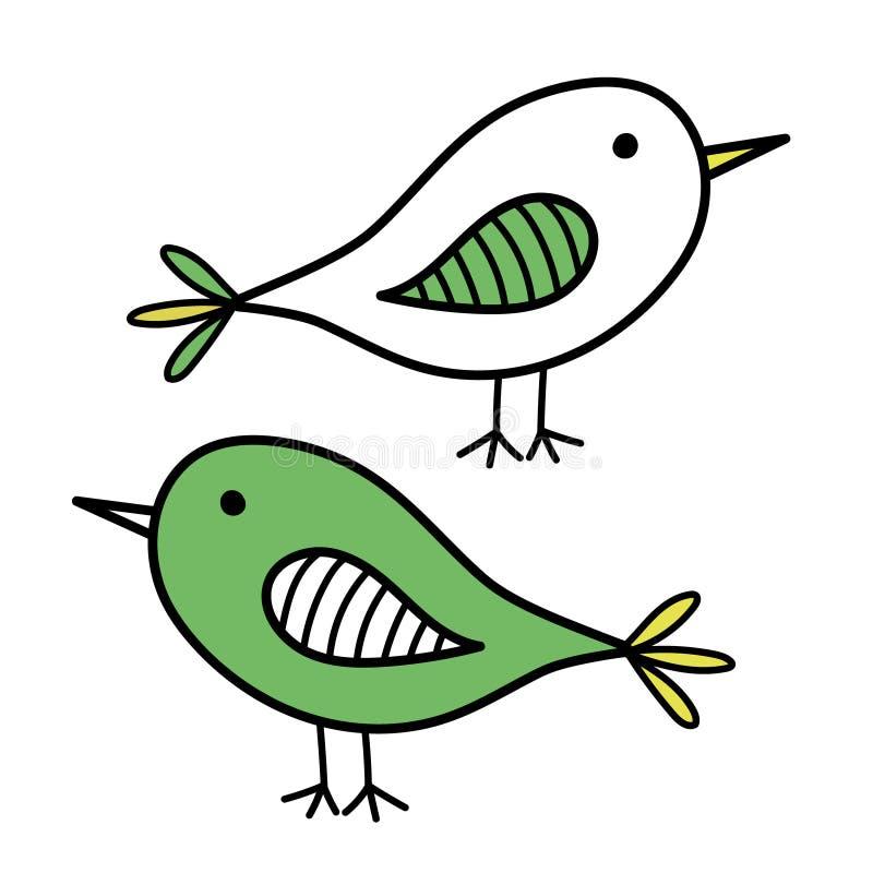 Dois ícones tirados mão do pássaro, vetores lisos em um fundo branco imagem de stock royalty free