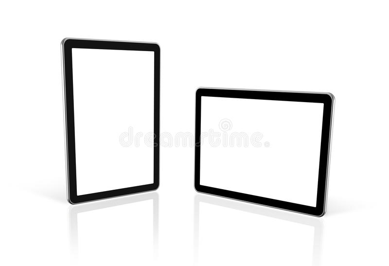 Dois 3D computadores, PC digital da tabuleta, tela da tevê ilustração do vetor