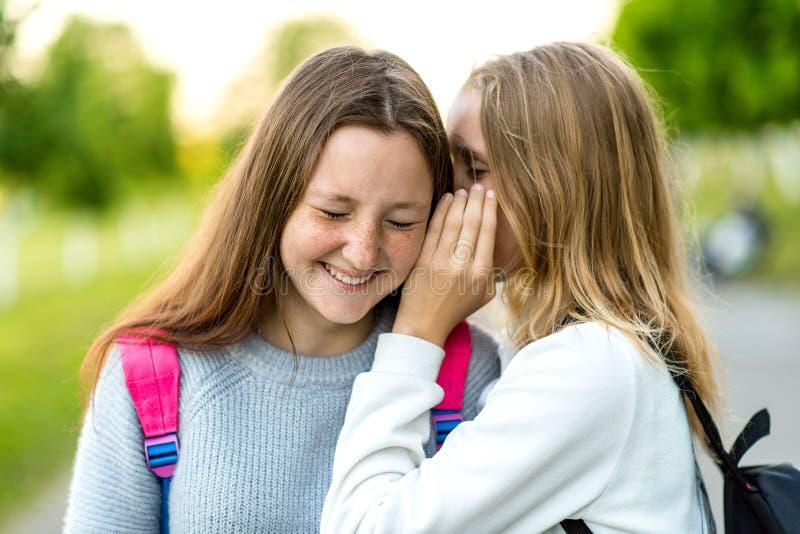 Dois adolescentes das estudantes das namoradas No parque da cidade do verão Conceito do gracejo, segredo, fantasia, conversação,  fotografia de stock royalty free