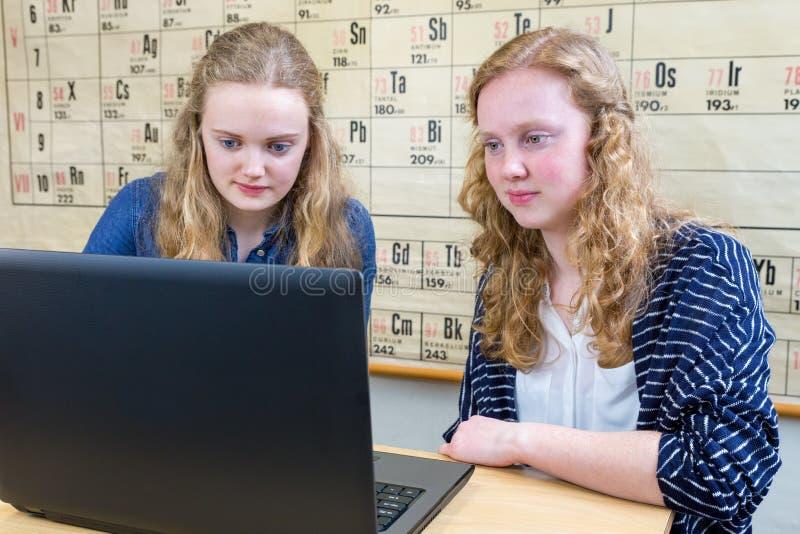 Dois adolescentes holandeses que trabalham no computador na lição da química fotografia de stock royalty free