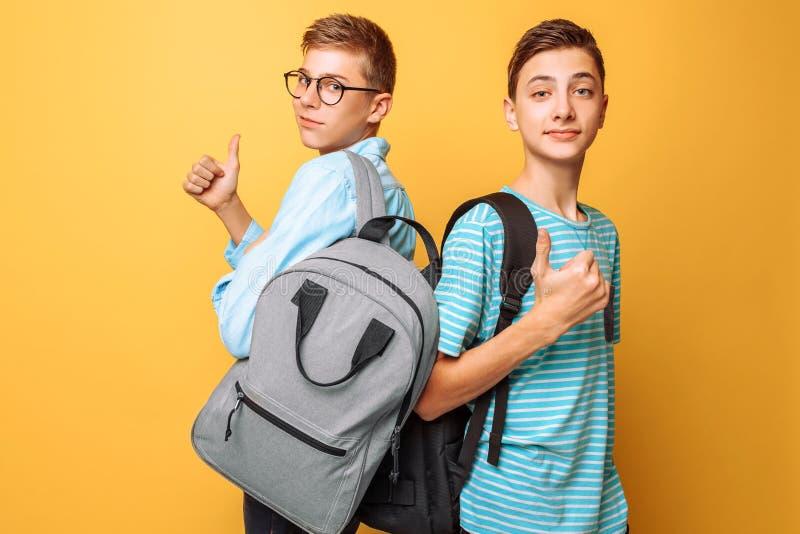 Dois adolescentes, indivíduos mostram emoções opostas, amigos mostram gestos positivos e negativos, em um fundo amarelo fotografia de stock