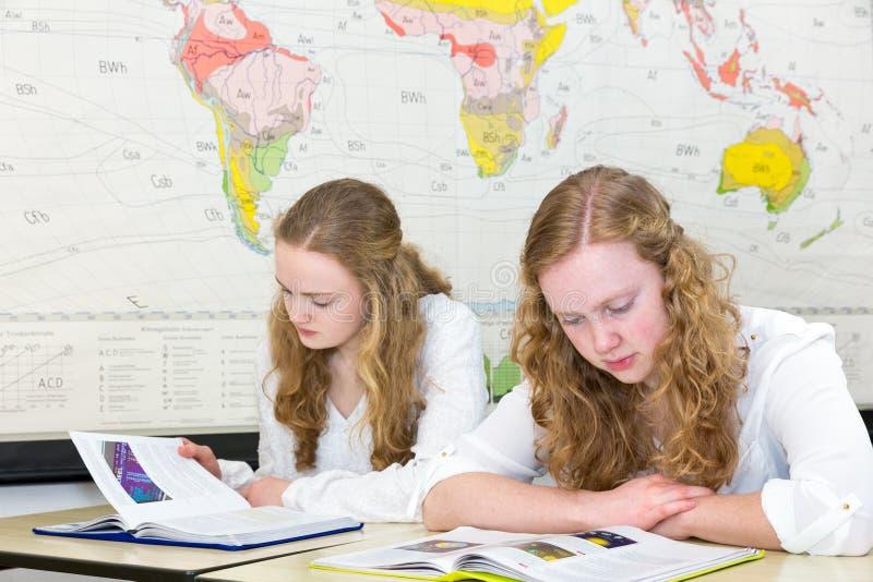 Dois adolescentes que estudam na frente da carta do mundo da parede imagens de stock