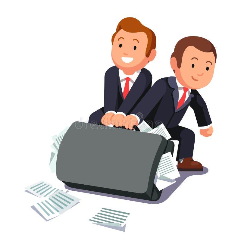 Dois advogados que arrastam a pasta enorme completamente dos papéis ilustração royalty free