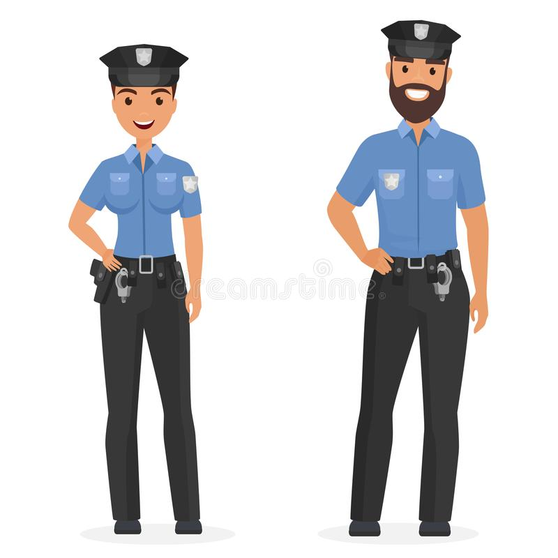 Dois agentes da polícia felizes novos, o homem e a mulher isolaram a ilustração do vetor dos desenhos animados ilustração royalty free