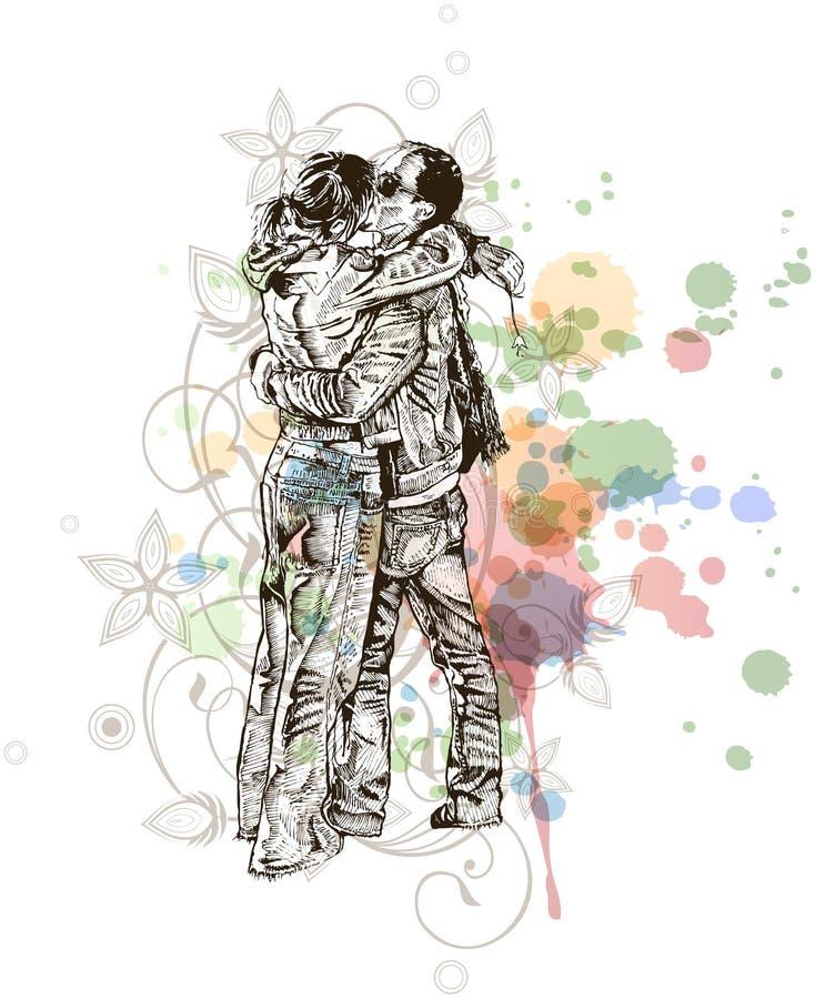 Dois amantes que beijam & ornamento das flores ilustração stock