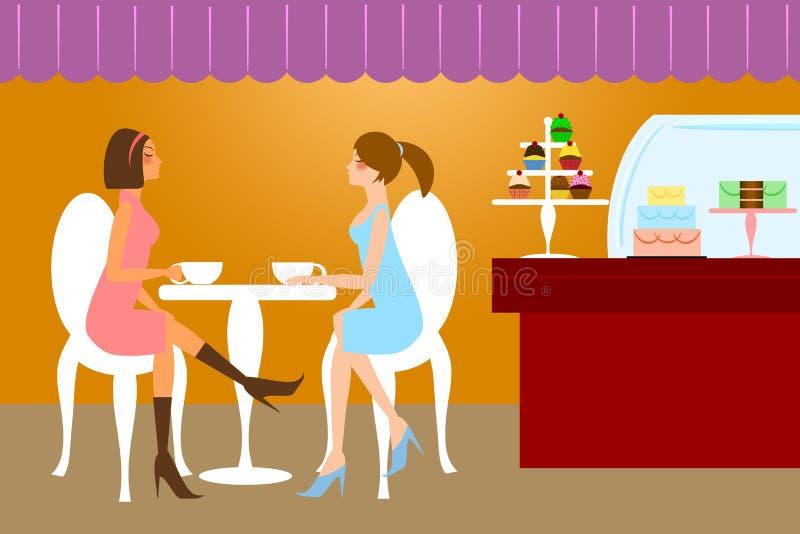 Dois amigos da mulher que comem o café ilustração stock