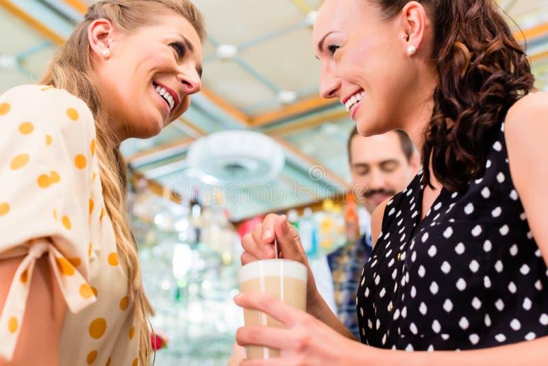 Dois amigos das mulheres no cappuccino bebendo do café imagens de stock royalty free