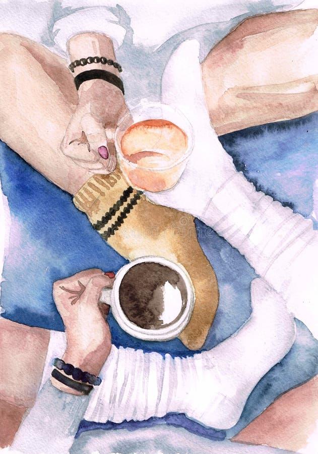 Dois amigos de meninas da aquarela na camiseta e peúgas com canecas do chá ilustração royalty free