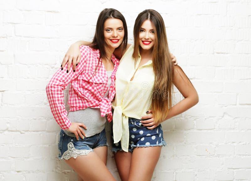Dois amigos de moça que estão junto e que têm o divertimento fotos de stock royalty free