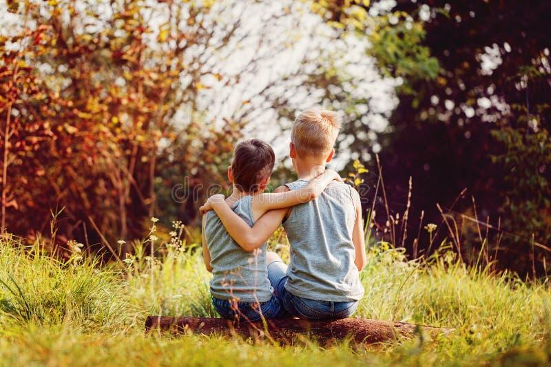 Dois amigos de rapazes pequenos abraçam-se no dia ensolarado do verão Amor do irmão Amizade do conceito Vista traseira foto de stock