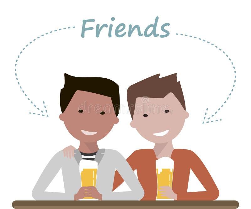 Dois amigos do homem que bebem a cerveja ilustração do vetor