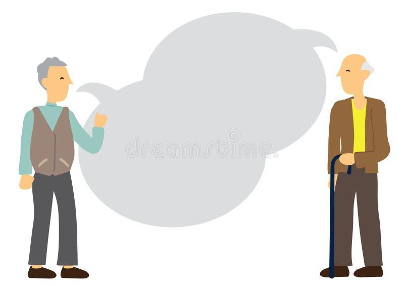 Dois amigos idosos que falam com bolha vazia do discurso Conceito da discussão da aposentadoria, da amizade ou do envelhecimento ilustração royalty free