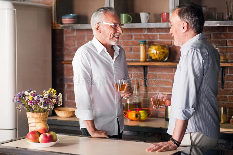 Dois amigos masculinos idosos que têm bebidas no apartamento fotografia de stock