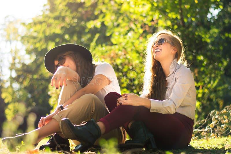 Dois amigos que apreciam o dia do outono no parque fotografia de stock
