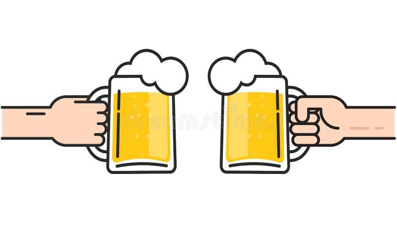 Dois amigos que guardam vidros de cerveja com a espuma que cheering, cerveja nas mãos que brindam, conceito do partido cheering,  ilustração do vetor