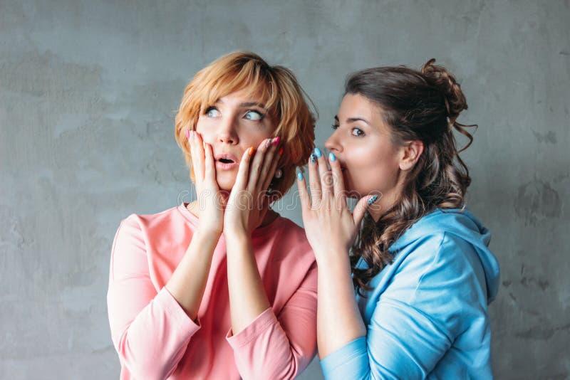 Dois amigos reais das jovens mulheres engra?adas bonitas no vestido ocasional dizem-se segredos terr?veis no fundo do muro de cim fotografia de stock