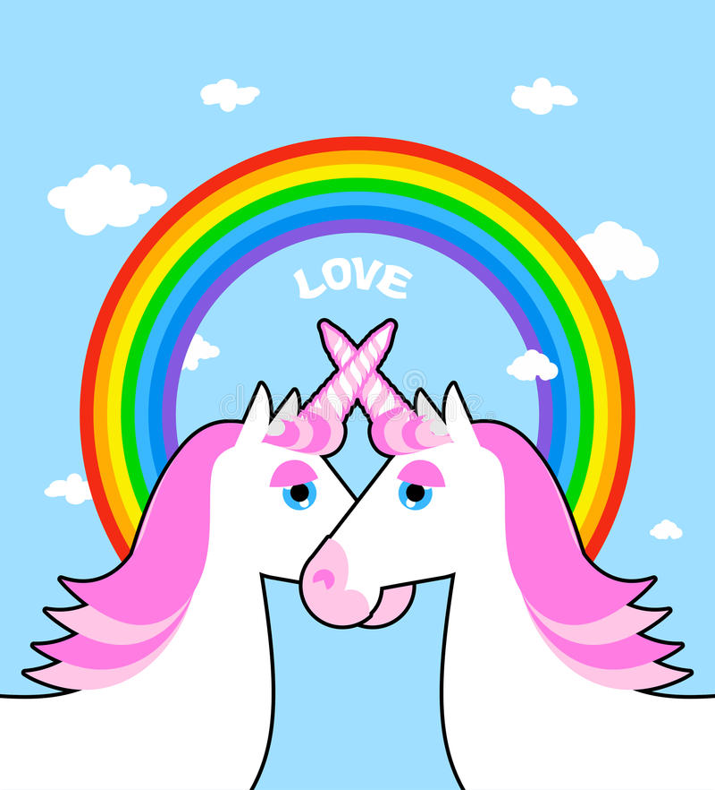 Dois amor cor-de-rosa do unicórnio e do arco-íris Símbolo da comunidade de LGBT ventilador ilustração do vetor