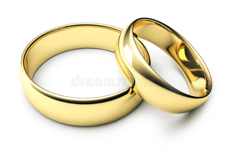 Dois anéis de casamento do ouro ilustração royalty free