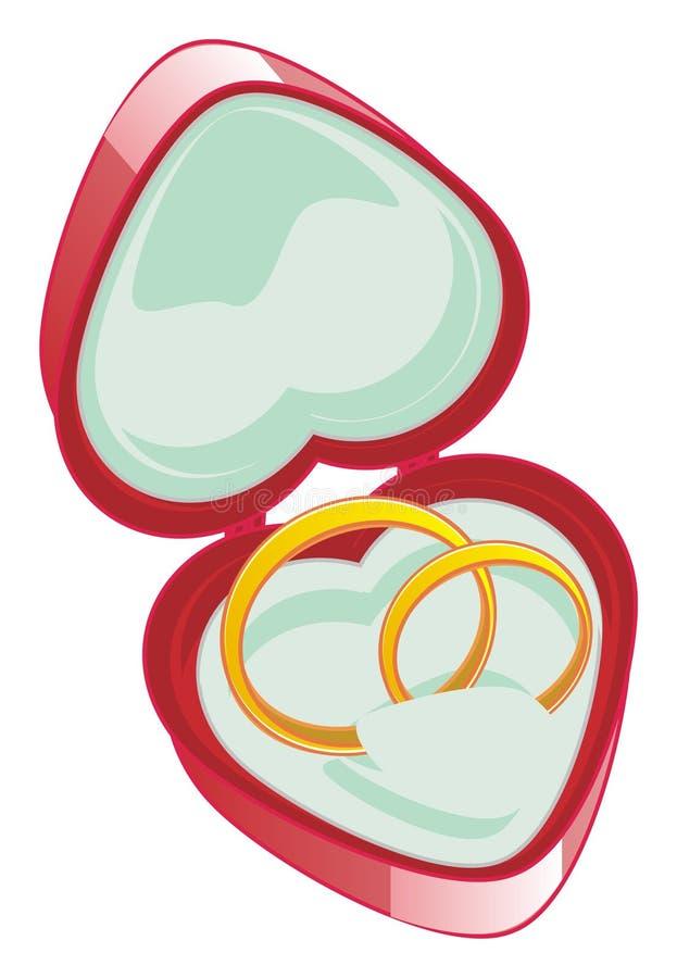 Dois anéis de ouro na caixa vermelha ilustração royalty free