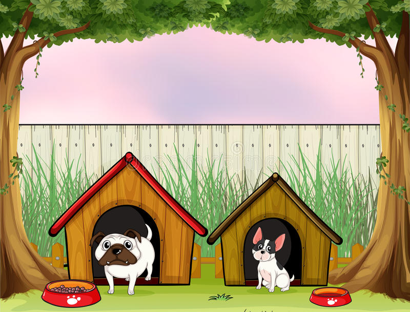 Dois animais de estimação dentro da cerca com casas de madeira ilustração do vetor