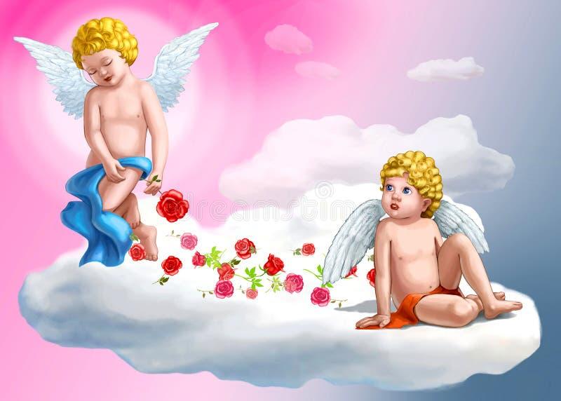 Dois anjos doces ilustração do vetor