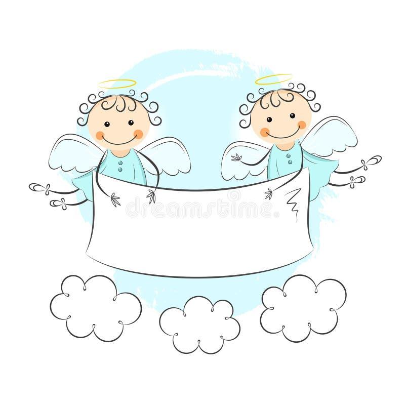 Dois anjos pequenos ilustração royalty free