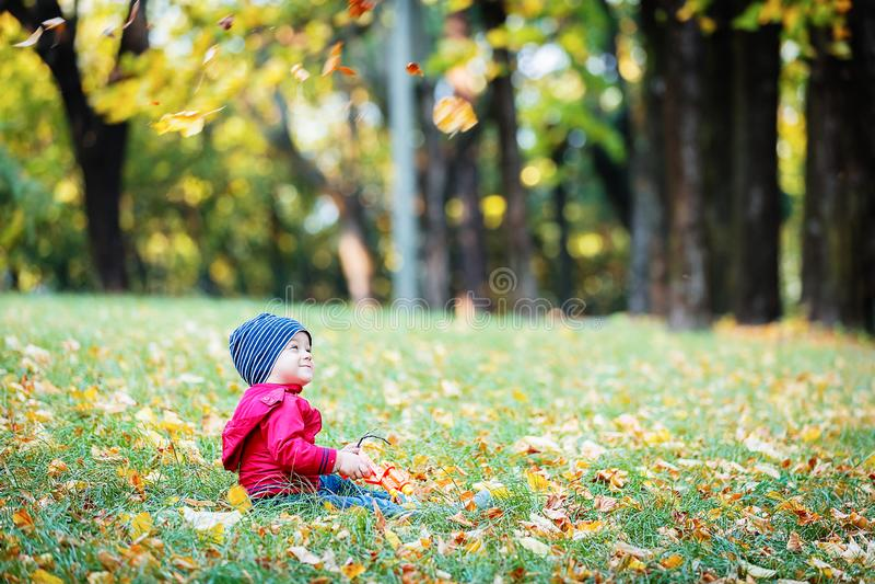 Dois anos de criança idosa têm o divertimento exterior no parque do outono imagem de stock