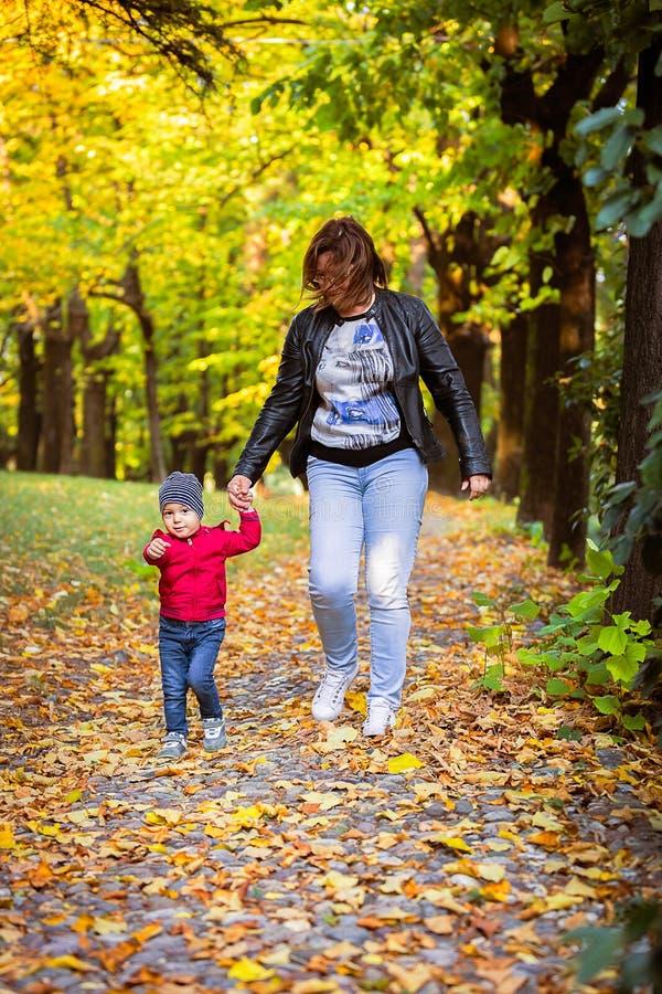 Dois anos de criança idosa têm o divertimento exterior no parque do outono fotografia de stock royalty free