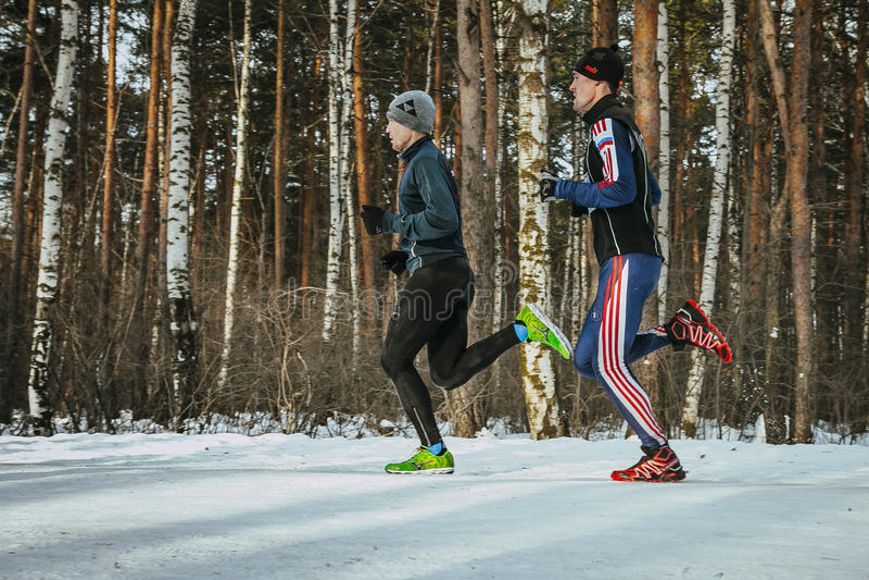 Dois atletas dos homens que correm através das madeiras fotografia de stock