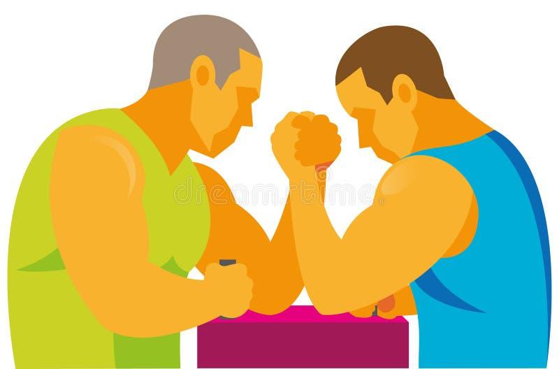 Dois atletas fortes participam em competições da luta romana de braço ilustração do vetor