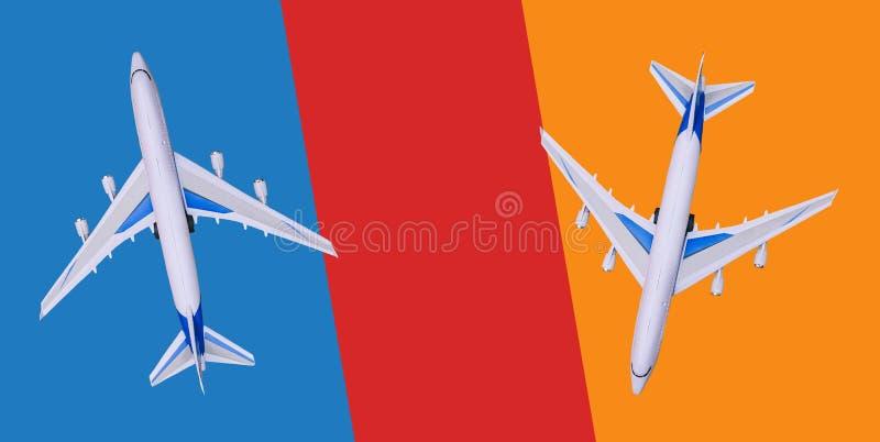 Dois aviões comerciais voam em sentidos diferentes Venda e registro dos bilhetes, comprovantes do turista, excursões Excurs?es qu imagens de stock