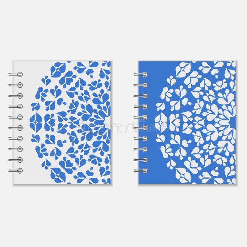 Dois azuis e projeto branco das tampas do caderno ilustração royalty free