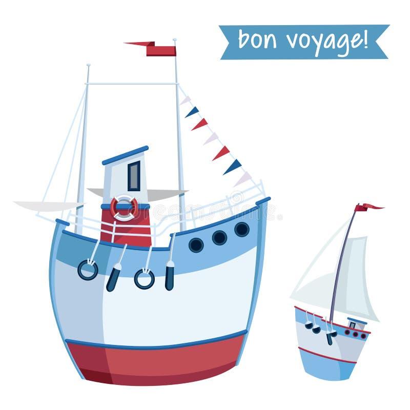 Dois barcos de pesca no estilo liso Ilustra??o do vetor isolada no fundo branco ilustração stock