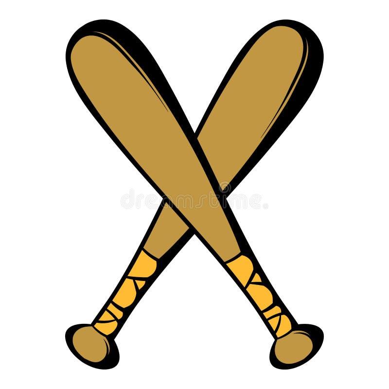 Dois bastões de beisebol cruzados ícone, desenhos animados do ícone ilustração do vetor
