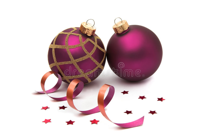 Dois baubles do Natal isolados fotografia de stock royalty free