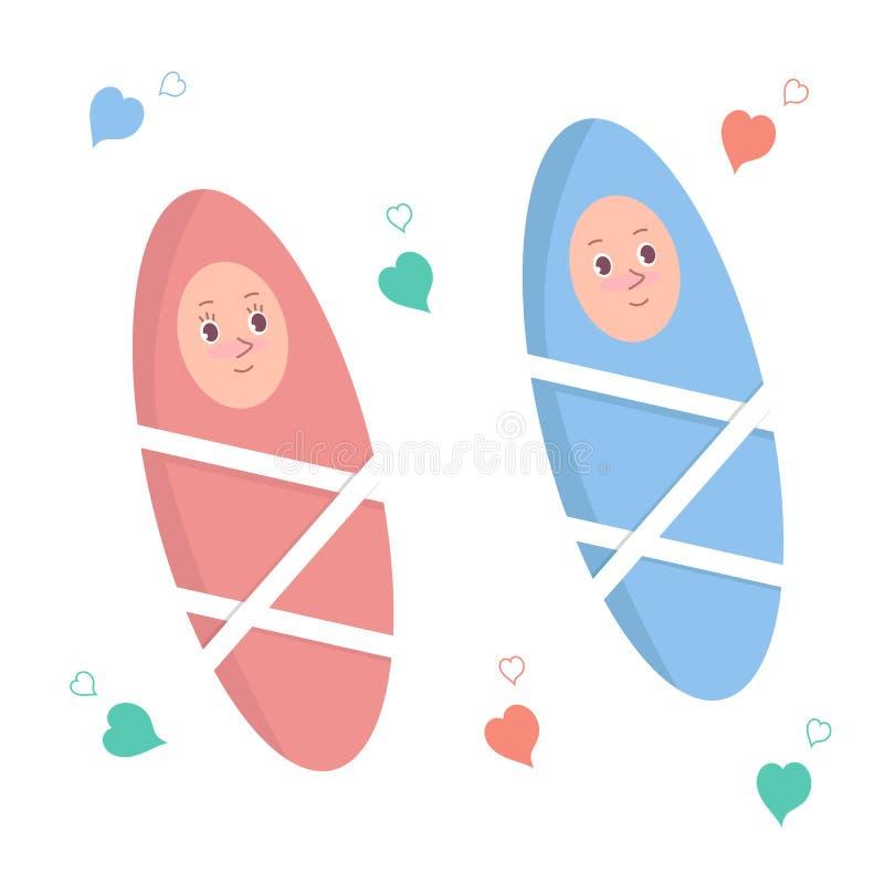 Dois bebês bonitos dos desenhos animados, um bebê e um bebê Ilustração isolada do vetor ilustração do vetor