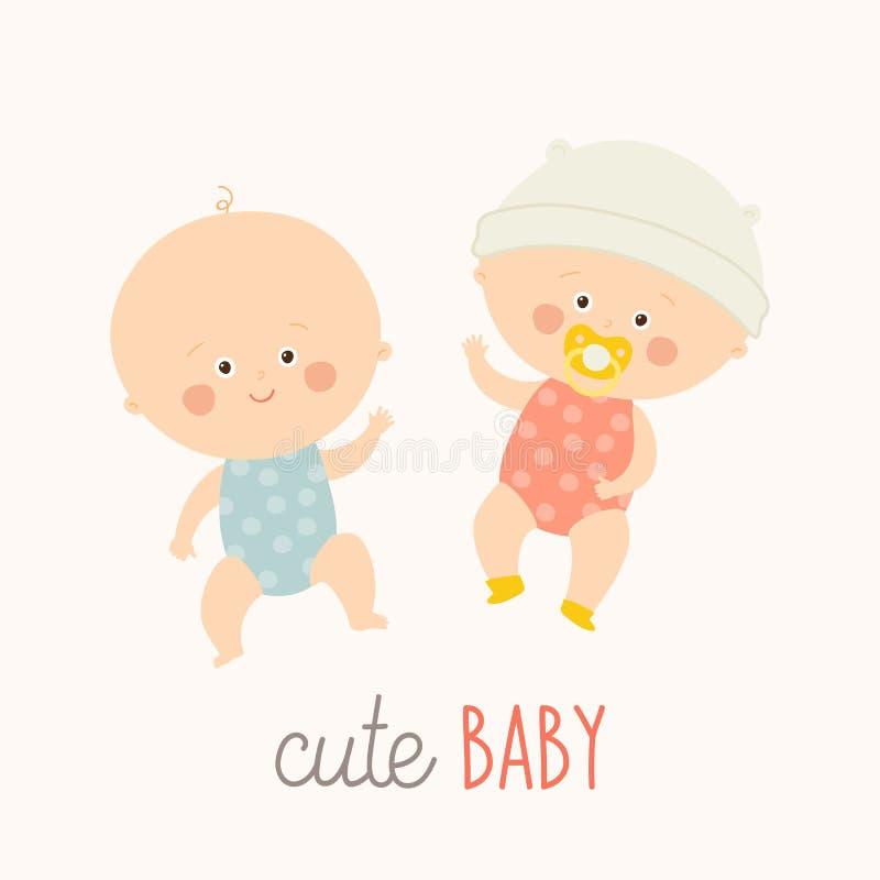 Dois bebês bonitos que encontram-se com chupeta do bebê Menino e menina da criança que colocam e que sorriem Vetor eps tirado mão ilustração royalty free