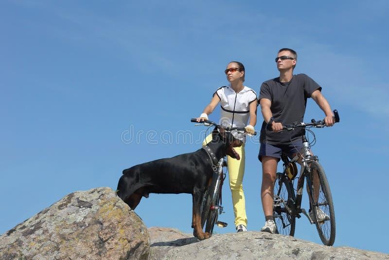 Dois bicyclists foto de stock