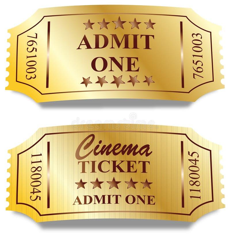 Dois bilhetes dourados ilustração stock