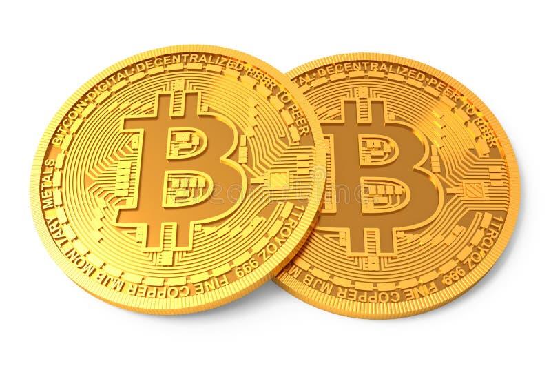 Dois Bitcoins físico isolaram-se no fundo branco Moedas douradas com símbolo do bitcoin ilustração stock