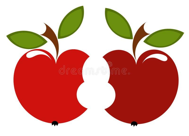 Dois biten maçãs ilustração royalty free
