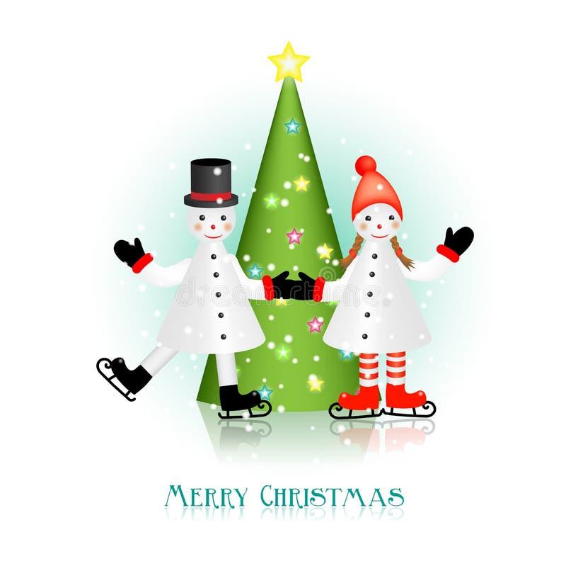 Dois bonecos de neve e árvores de Natal ilustração do vetor